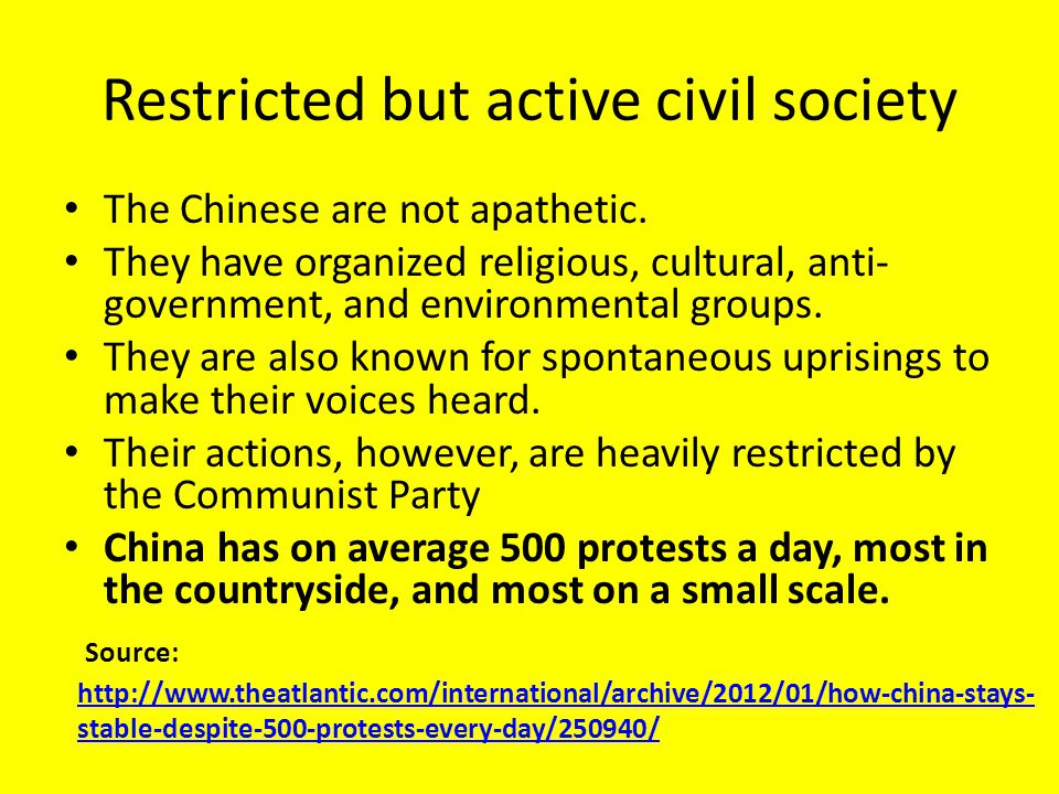Restricted but active civil society