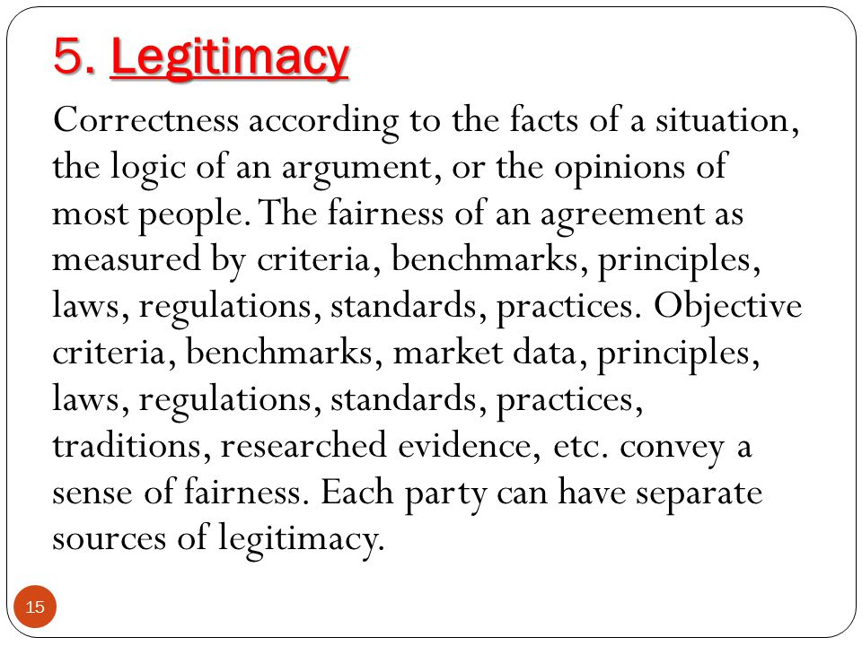 5. Legitimacy