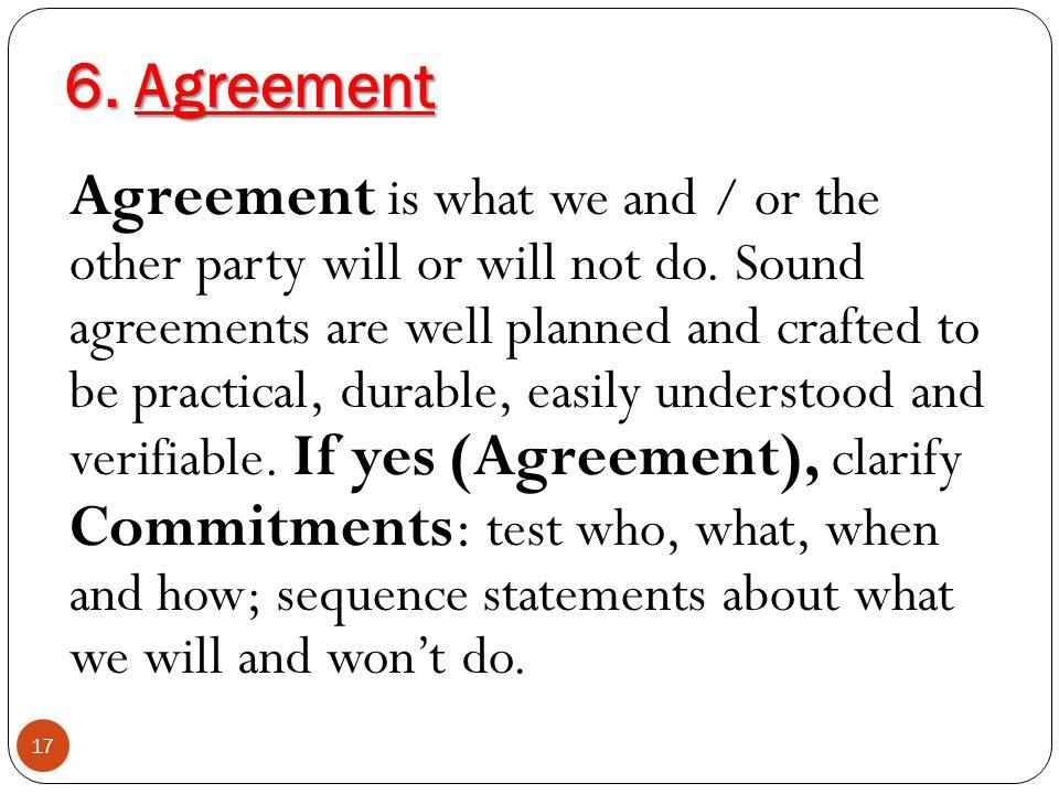 6. Agreement