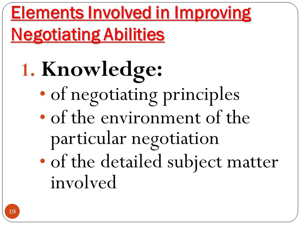 Elements Involved in Improving Negotiating Abilities