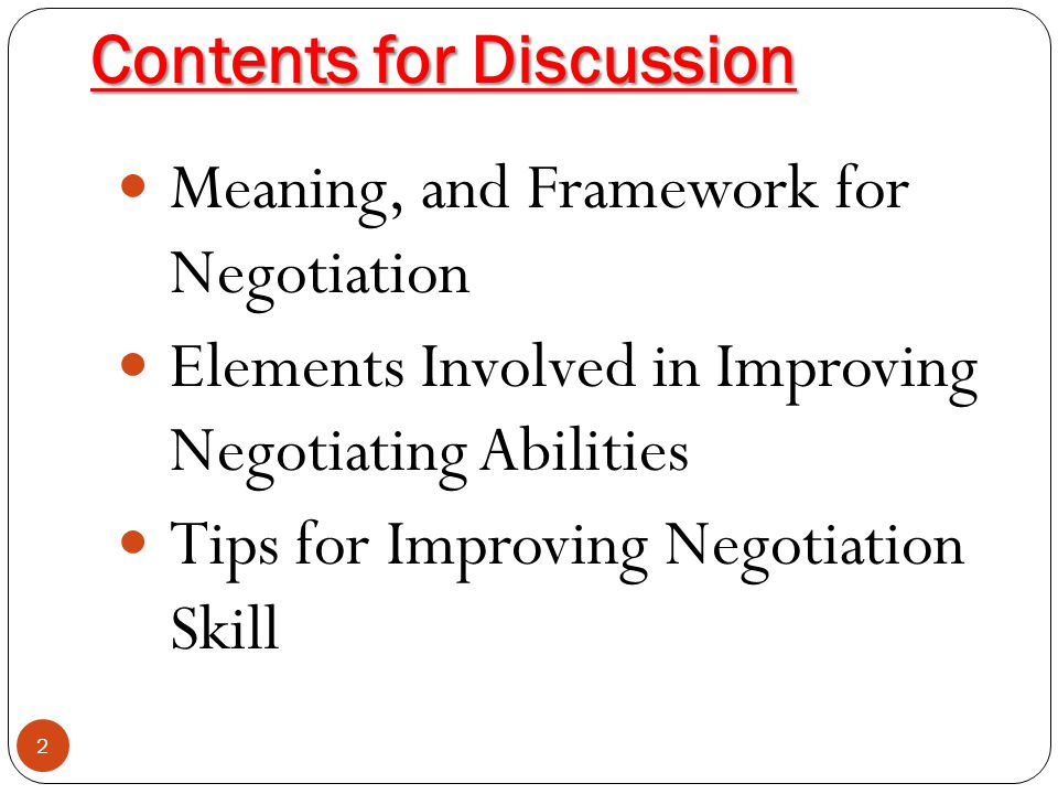 Contents for Discussion