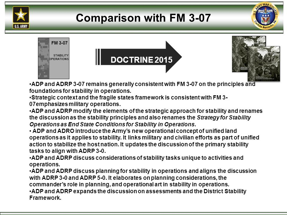 Comparison with FM 3-07 DOCTRINE 2015