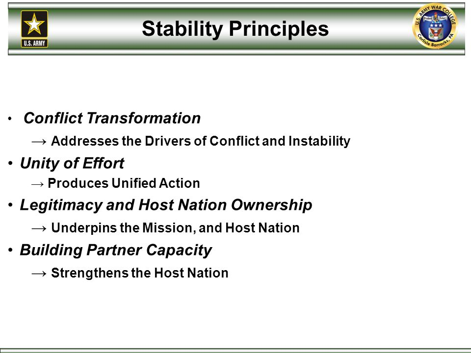 Stability Principles Addresses the Drivers of Conflict and Instability