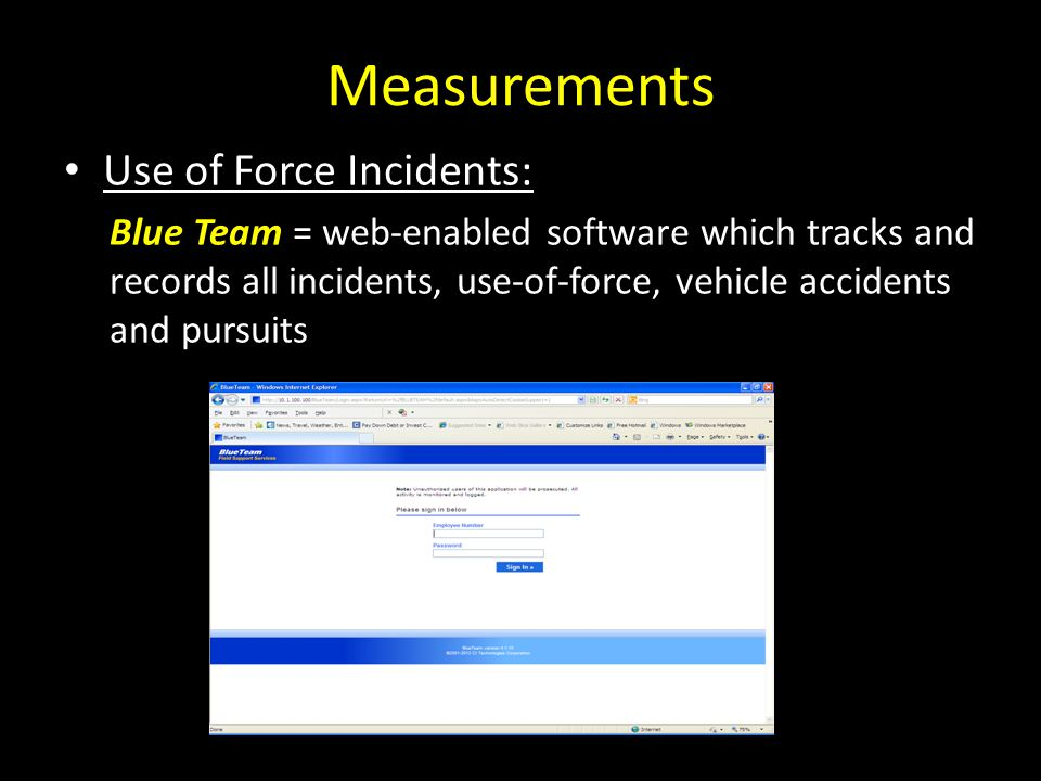Measurements Use of Force Incidents: