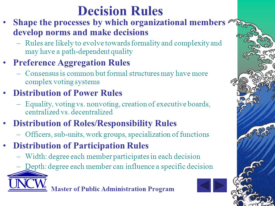 Decision Rules Shape the processes by which organizational members develop norms and make decisions.