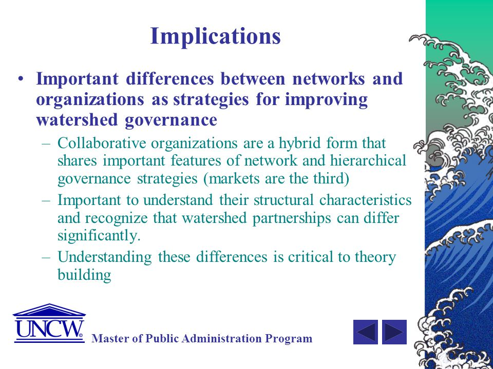 Implications Important differences between networks and organizations as strategies for improving watershed governance.