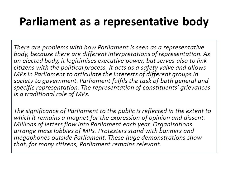 Parliament as a representative body
