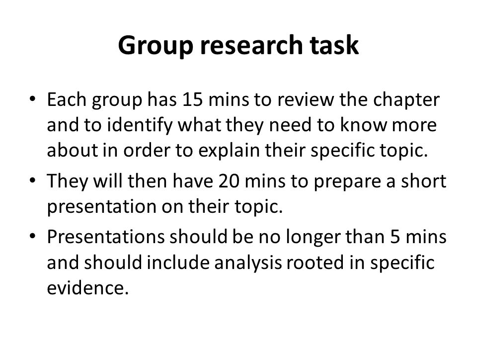 Group research task
