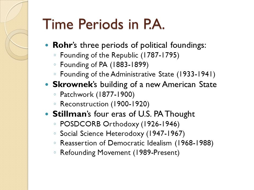 Time Periods in P.A. Rohr's three periods of political foundings: