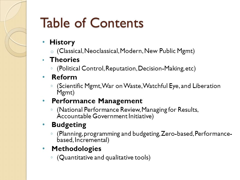 Table of Contents History Theories Reform Performance Management