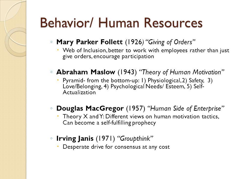Behavior/ Human Resources