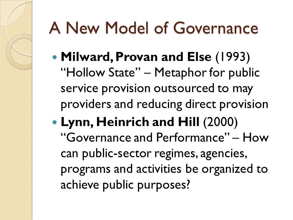 A New Model of Governance