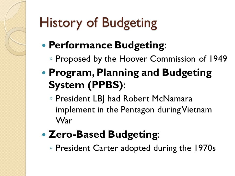 History of Budgeting Performance Budgeting: