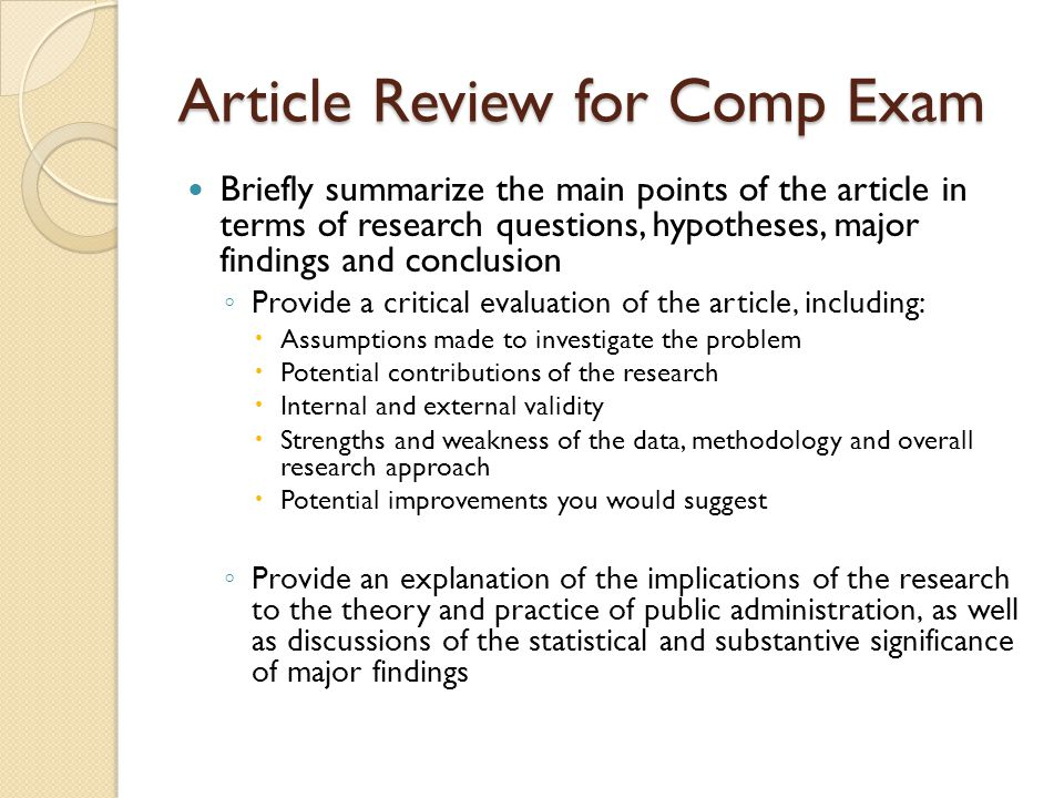 Article Review for Comp Exam