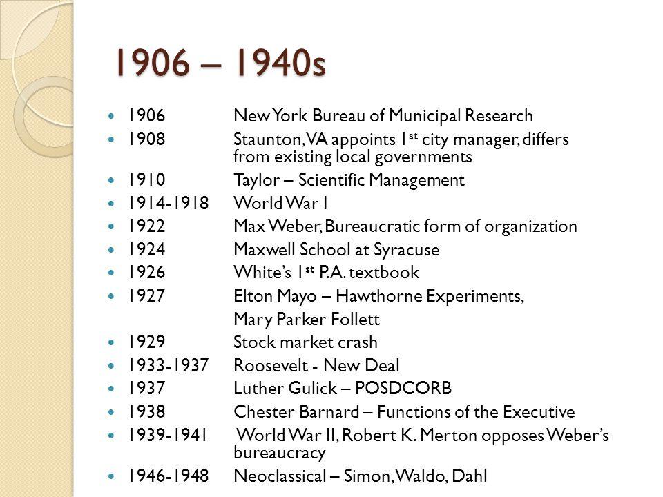 1906 – 1940s 1906 New York Bureau of Municipal Research