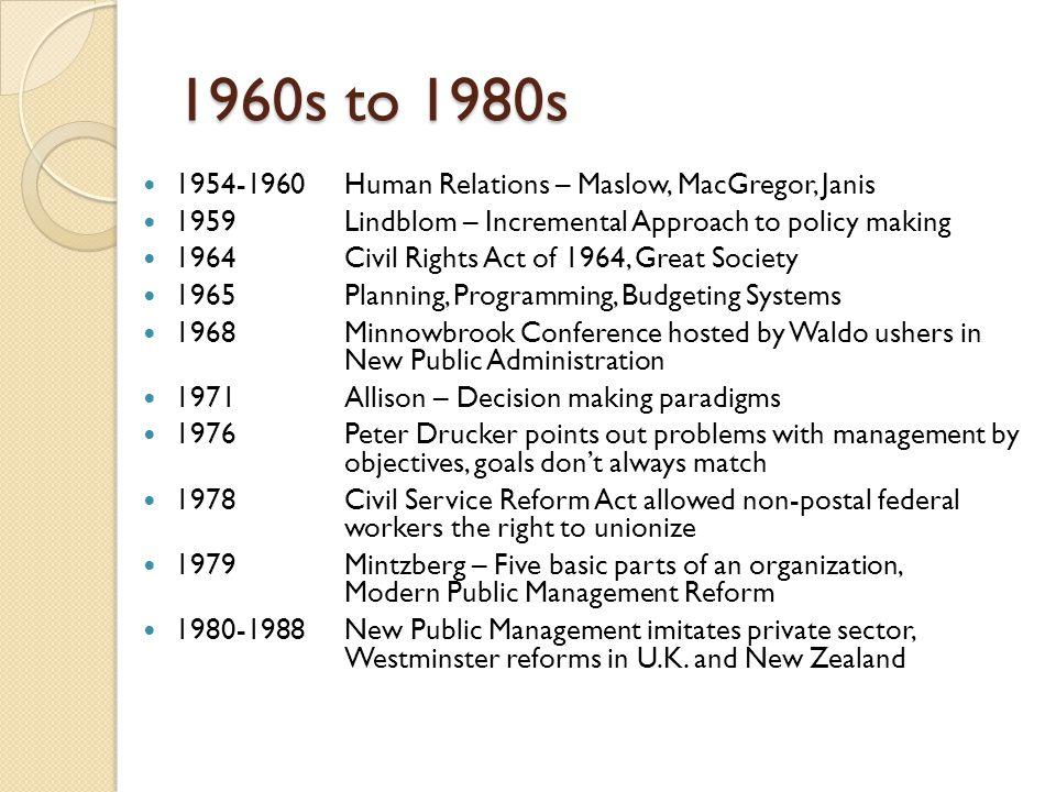 1960s to 1980s 1954-1960 Human Relations – Maslow, MacGregor, Janis