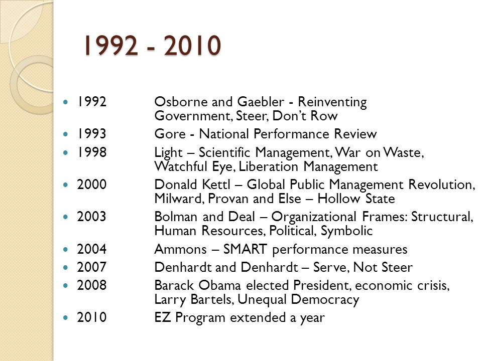 1992 - 2010 1992 Osborne and Gaebler - Reinventing Government, Steer, Don't Row. 1993 Gore - National Performance Review.