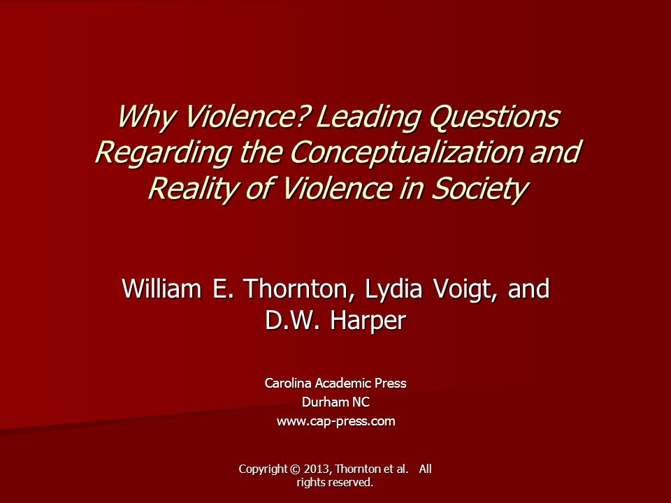 Why Violence Leading Questions Regarding the Conceptualization and Reality of Violence in Society
