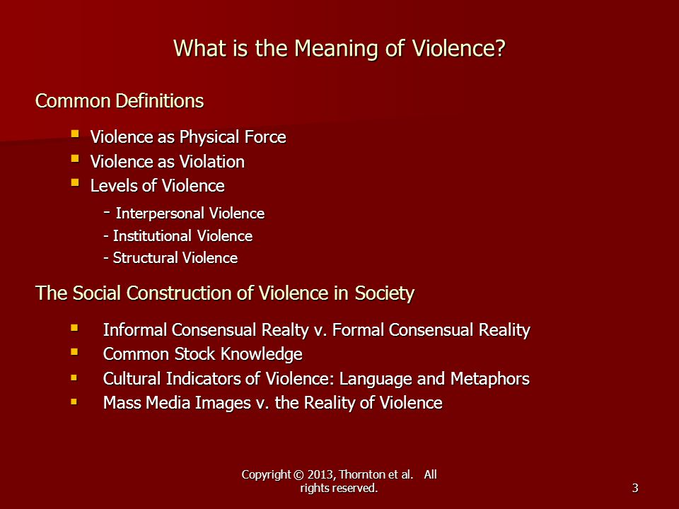 What is the Meaning of Violence