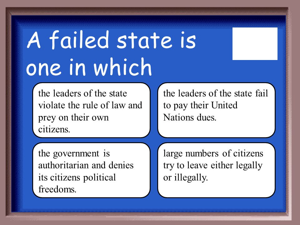 A failed state is one in which