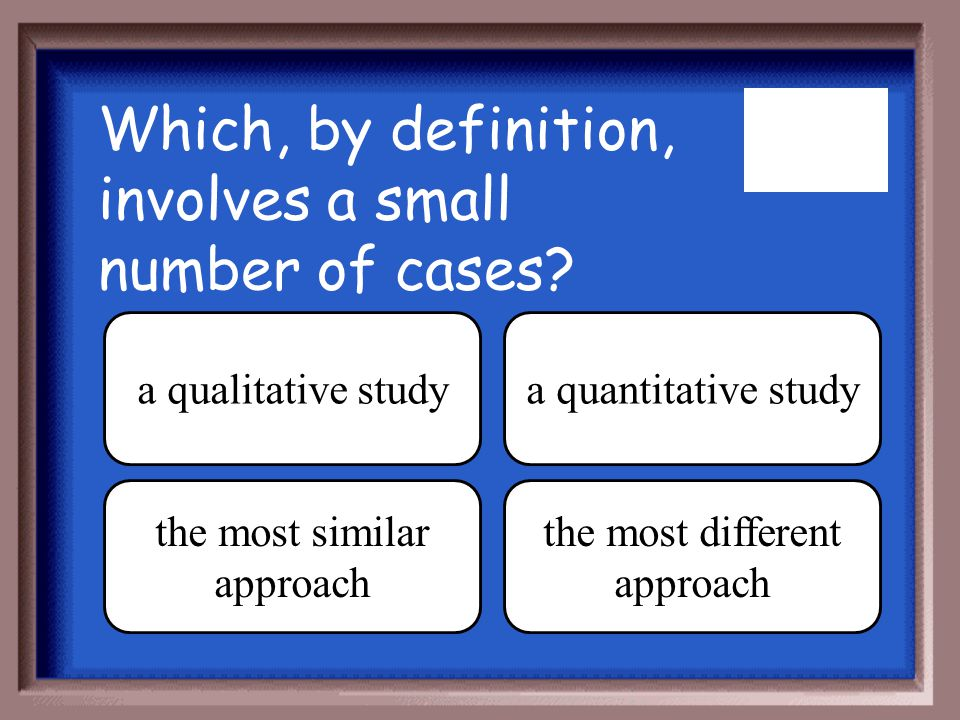 Which, by definition, involves a small number of cases