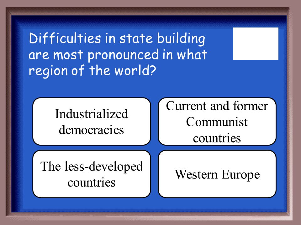 Industrialized democracies Current and former Communist countries