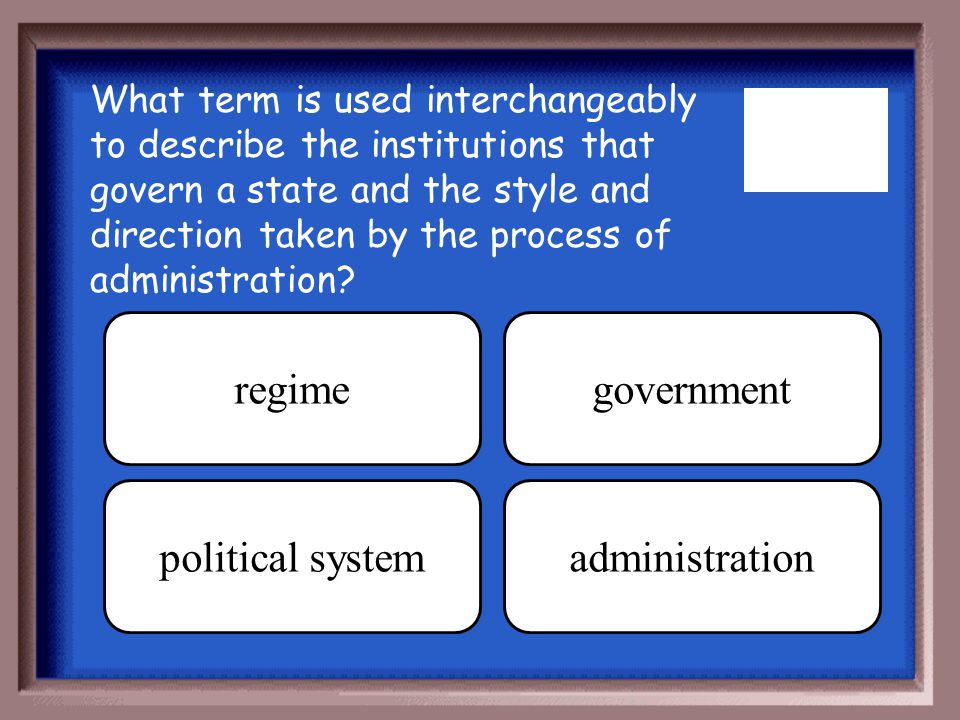regime government political system administration
