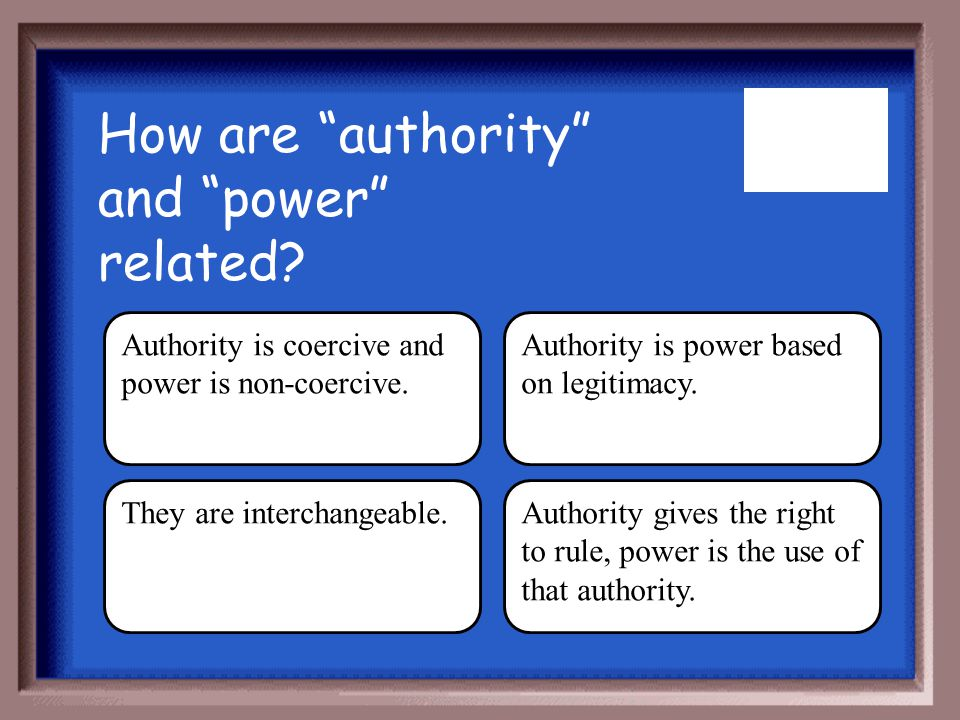 How are authority and power related