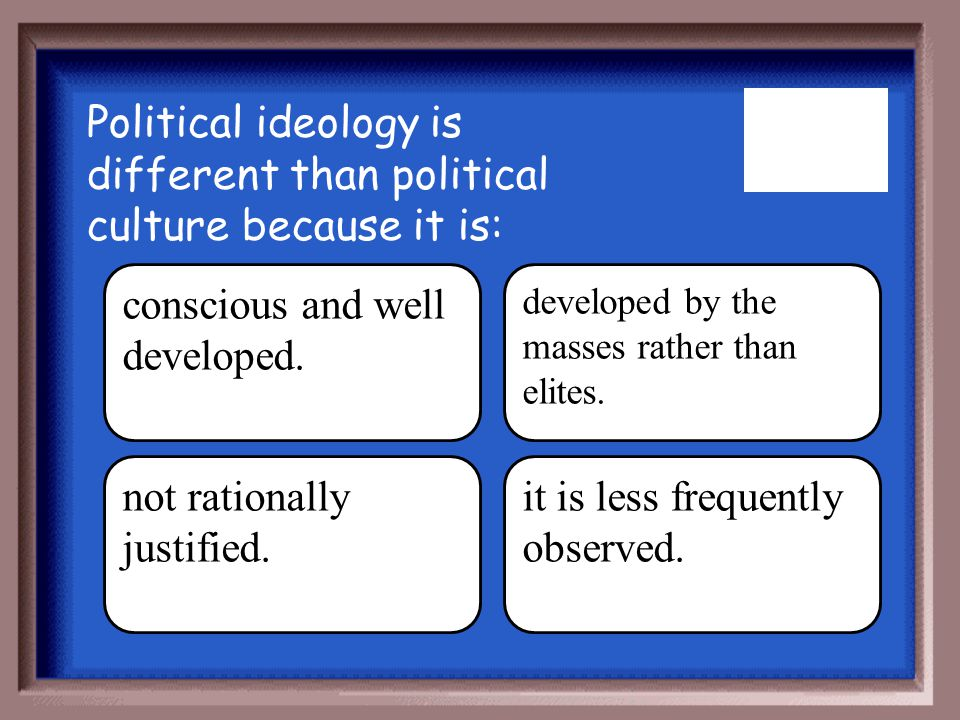 Political ideology is different than political culture because it is: