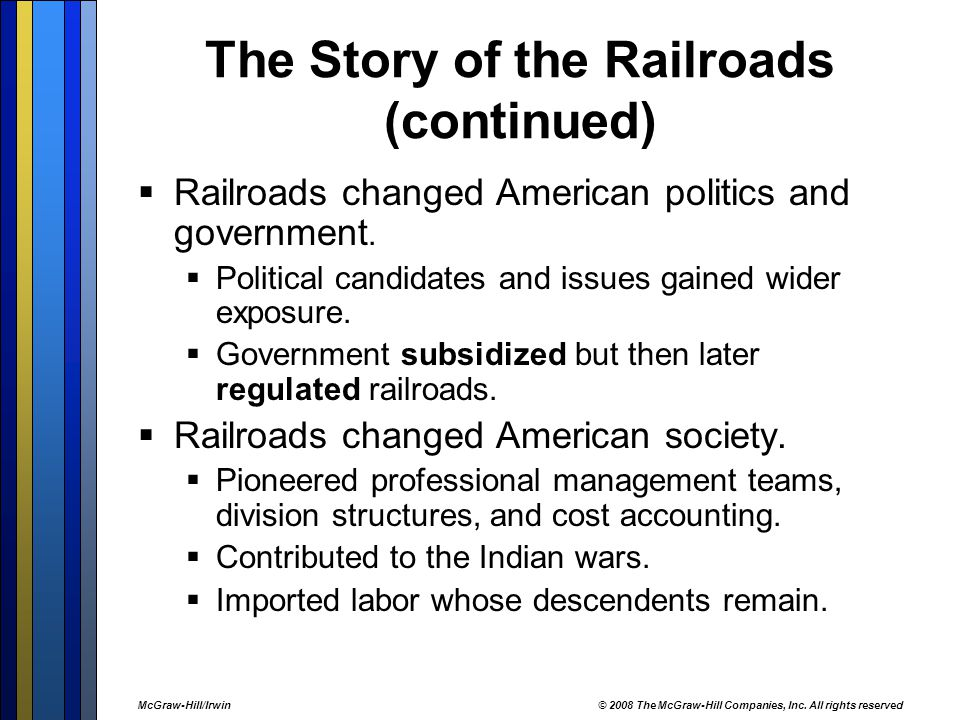 The Story of the Railroads (continued)