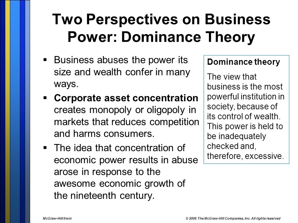 Two Perspectives on Business Power: Dominance Theory