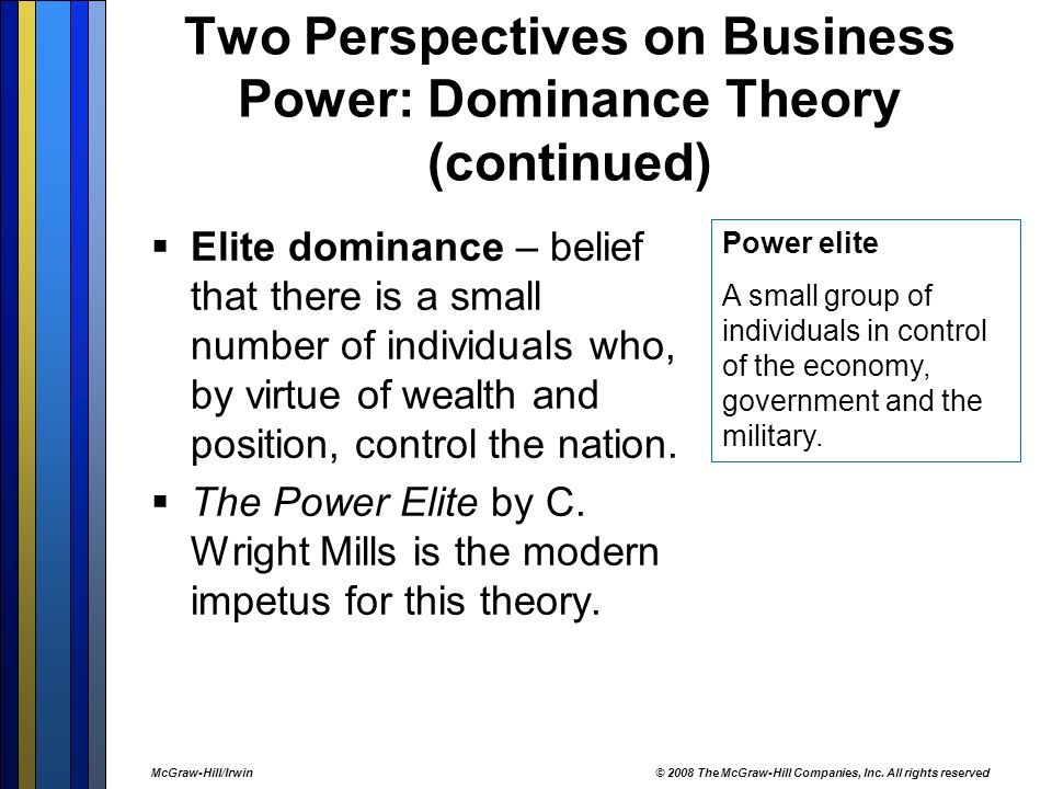 Two Perspectives on Business Power: Dominance Theory (continued)