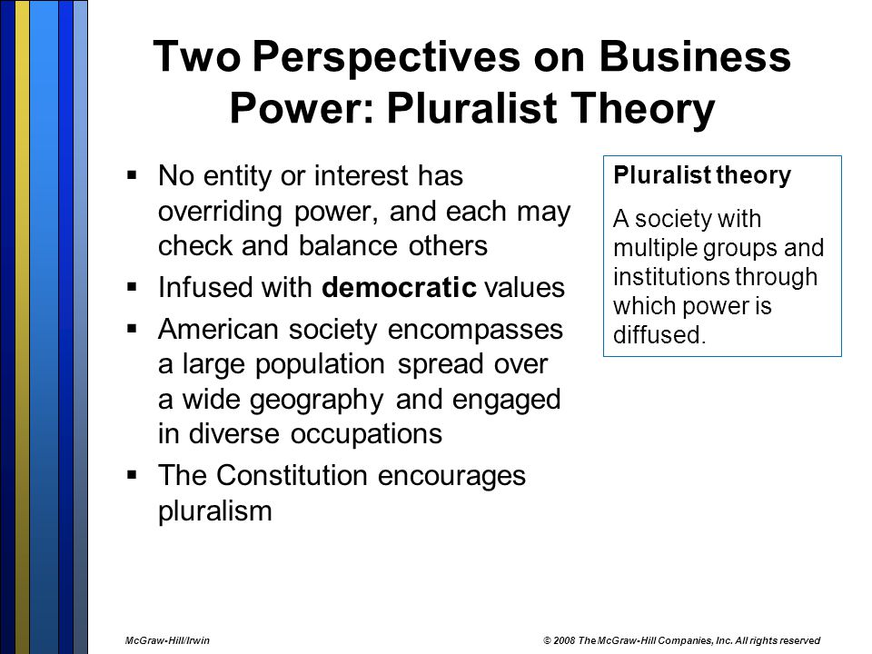Two Perspectives on Business Power: Pluralist Theory