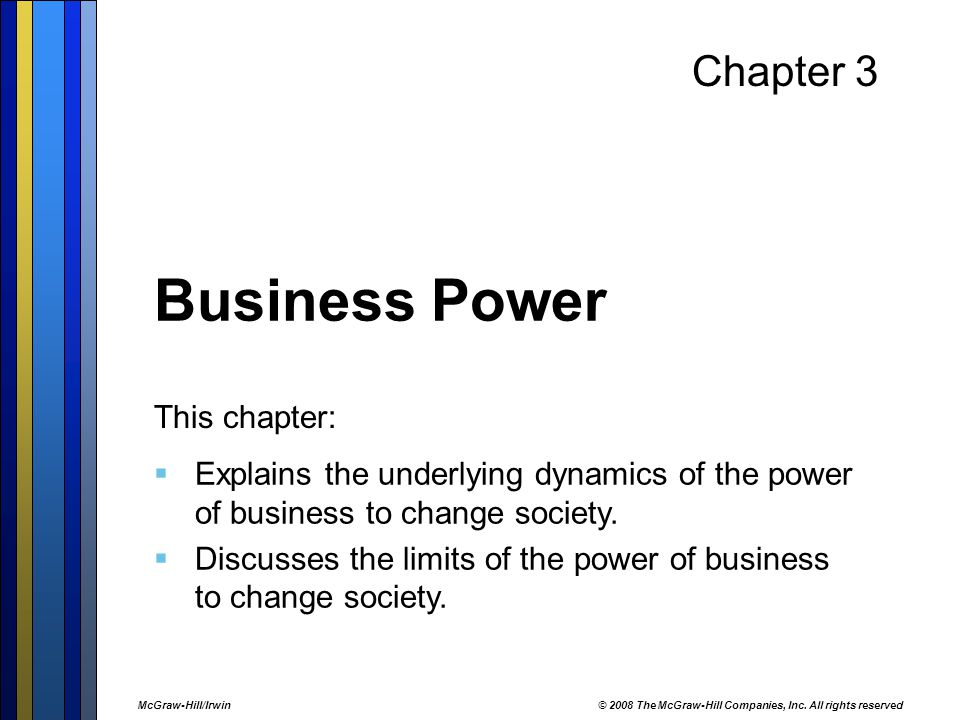 Business Power Chapter 3 This chapter: