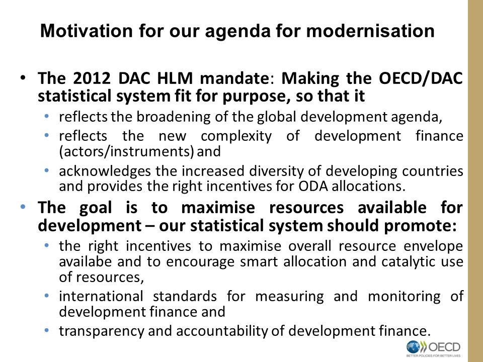 Motivation for our agenda for modernisation