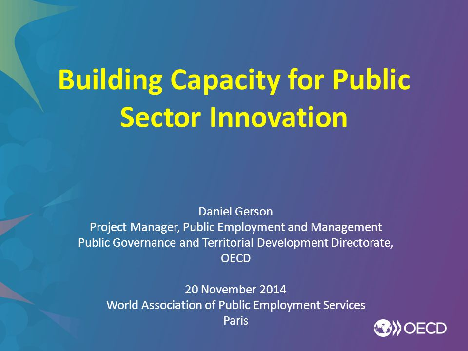 Building Capacity for Public Sector Innovation