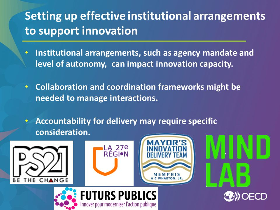 Setting up effective institutional arrangements to support innovation
