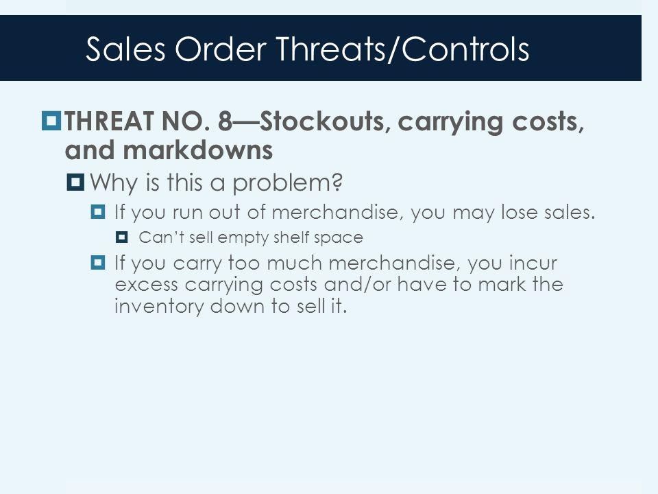 Sales Order Threats/Controls