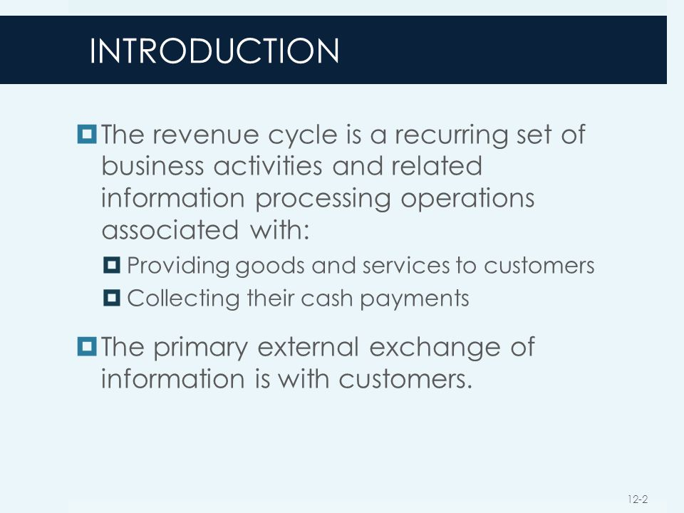 INTRODUCTION The revenue cycle is a recurring set of business activities and related information processing operations associated with: