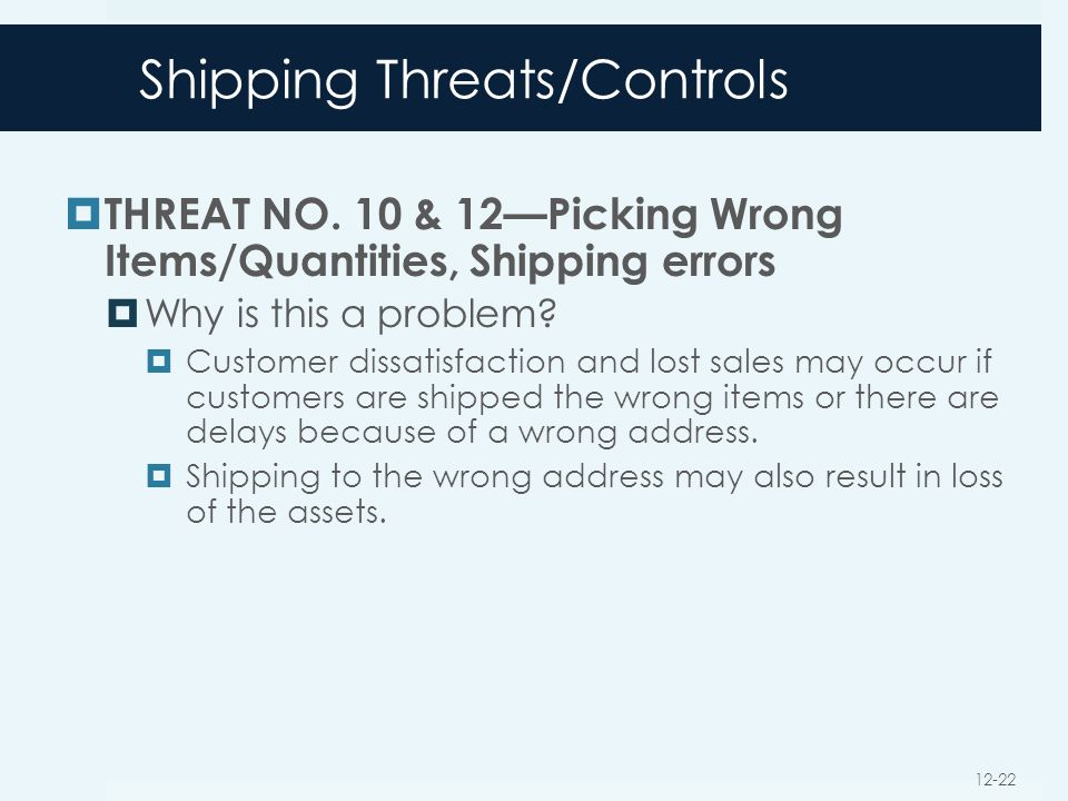 Shipping Threats/Controls