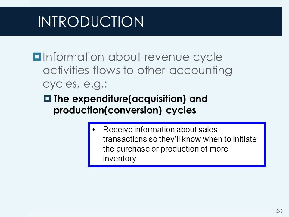 INTRODUCTION Information about revenue cycle activities flows to other accounting cycles, e.g.: