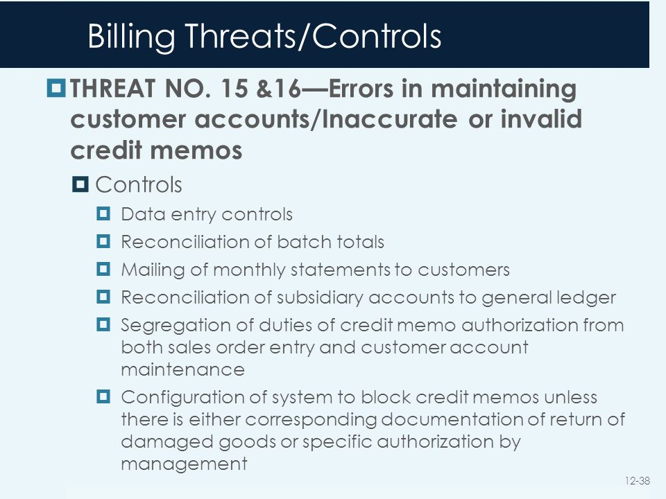 Billing Threats/Controls