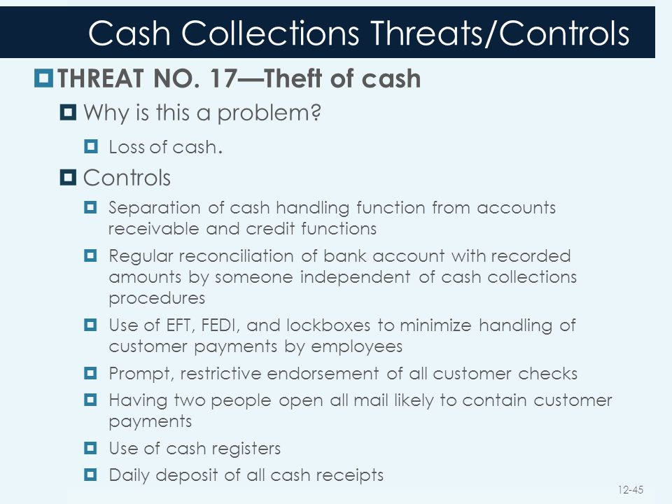 Cash Collections Threats/Controls