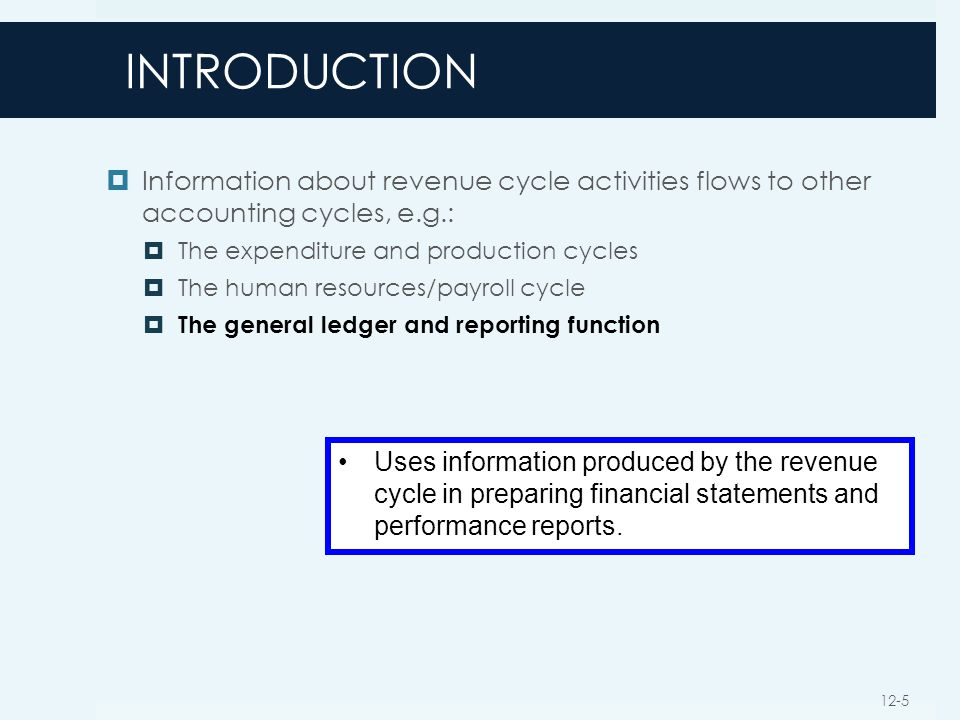INTRODUCTION Information about revenue cycle activities flows to other accounting cycles, e.g.: The expenditure and production cycles.