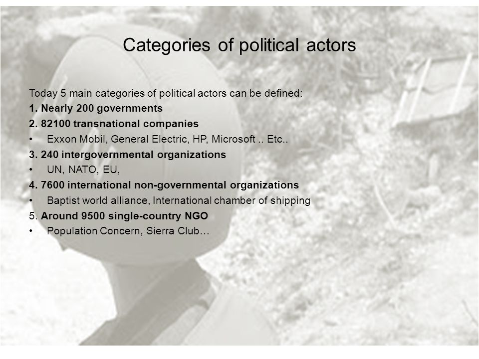 Categories of political actors