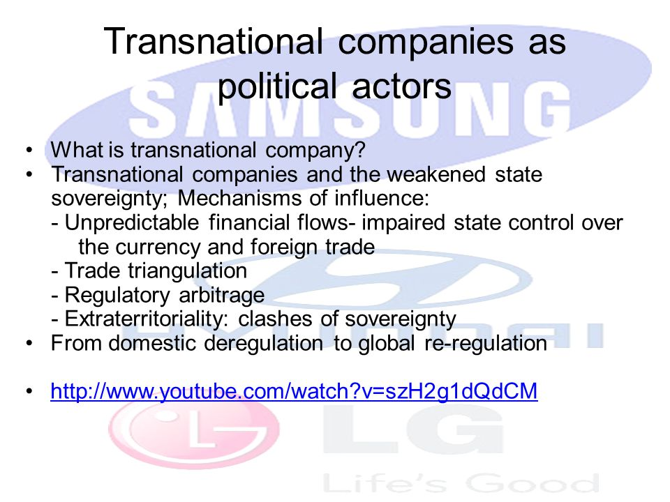 Transnational companies as political actors