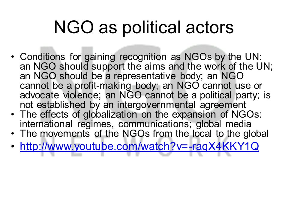 NGO as political actors
