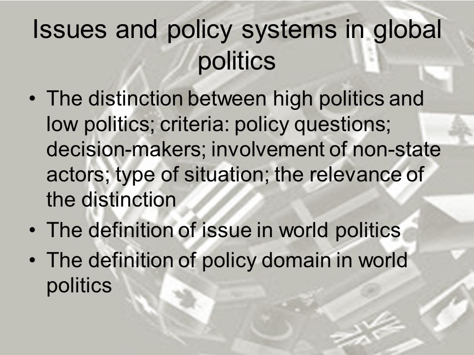 Issues and policy systems in global politics