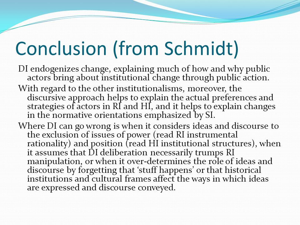 Conclusion (from Schmidt)