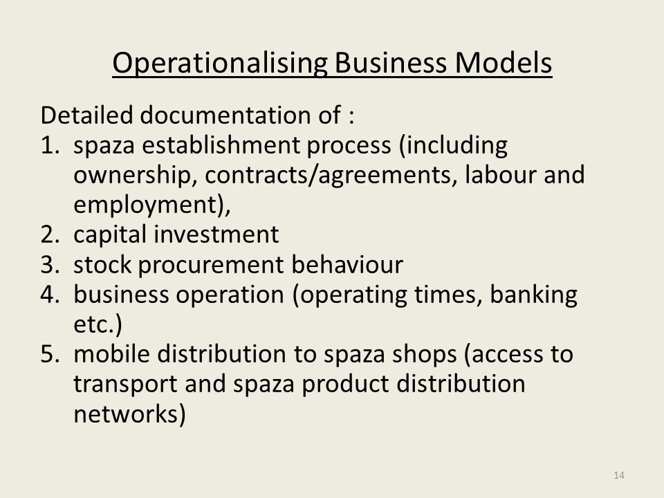 Operationalising Business Models